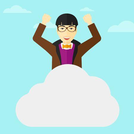 manos levantadas al cielo: Un hombre asi�tico con las manos levantadas sentado en una nube en el fondo de cielo azul ilustraci�n vectorial dise�o plano. de planta cuadrada.