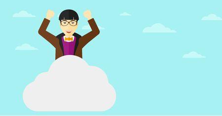 manos levantadas al cielo: Un hombre asi�tico con las manos levantadas sentado en una nube en el fondo de cielo azul ilustraci�n vectorial dise�o plano. disposici�n horizontal.