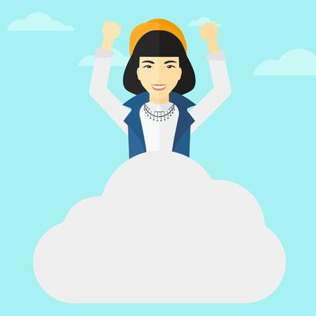 manos levantadas al cielo: Una mujer asiática con las manos levantadas sentado en una nube en el fondo de cielo azul ilustración vectorial diseño plano. de planta cuadrada.