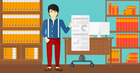 An asian man showing his complete paperwork with some text and charts on the background of business office vector flat design illustration. Horizontal layout. Illusztráció