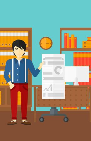 asian manager: An asian man showing his complete paperwork with some text and charts on the background of business office vector flat design illustration. Vertical layout.
