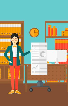 An asian woman showing her complete paperwork with some text and charts on the background of business office vector flat design illustration. Vertical layout.