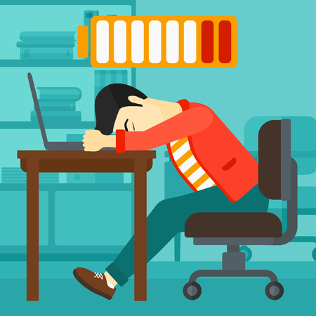 energy work: An asian man sleeping at workplace on laptop keyboard and low power battery sign over his head on the background of business office vector flat design illustration. Square layout. Illustration