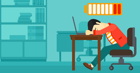asian man laptop: An asian man sleeping at workplace on laptop keyboard and low power battery sign over his head on the background of business office vector flat design illustration. Horizontal layout. Illustration
