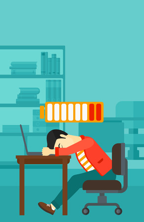An asian man sleeping at workplace on laptop keyboard and low power battery sign over his head on the background of business office vector flat design illustration. Vertical layout.
