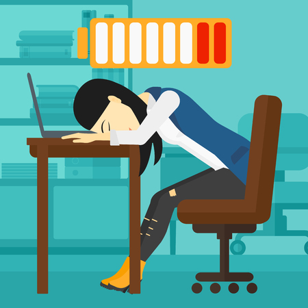 An asian woman sleeping at workplace on laptop keyboard and low power battery sign over her head on the background of business office vector flat design illustration. Square layout.