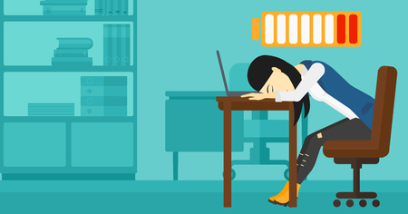 energy work: An asian woman sleeping at workplace on laptop keyboard and low power battery sign over her head on the background of business office vector flat design illustration. Horizontal layout.