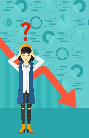 going down: An asian woman clutching her head and a big question mark above on the background of business graph going down vector flat design illustration. Vertical layout.