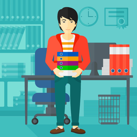 file clerk: An asian man standing with pile of folders on the background of business office vector flat design illustration. Square layout.