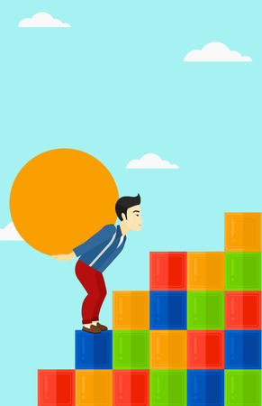 uphill: An asian man rising up on the colored cubes and carrying a big stone on his back on the background of blue sky vector flat design illustration. Vertical layout.