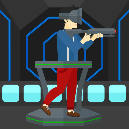 An asian man wearing virtual reality headset and standing on a treadmill with a gun in hands vector flat design illustration. Square layout. Illusztráció