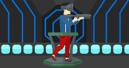An asian man wearing virtual reality headset and standing on a treadmill with a gun in hands vector flat design illustration. Horizontal layout.