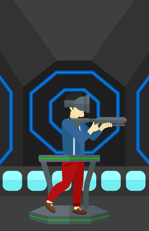 An asian man wearing virtual reality headset and standing on a treadmill with a gun in hands vector flat design illustration. Vertical layout.
