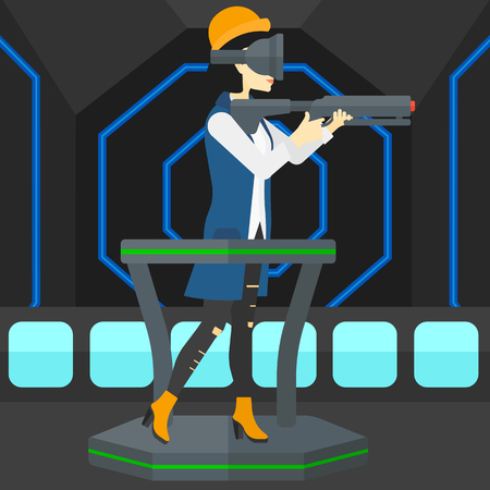 An asian woman wearing virtual reality headset and standing on a treadmill with a gun in hands vector flat design illustration. Square layout.