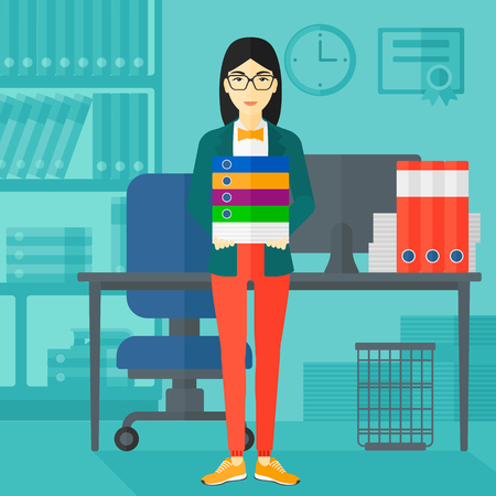 An asian woman standing with pile of folders on the background of business office vector flat design illustration. Square layout.