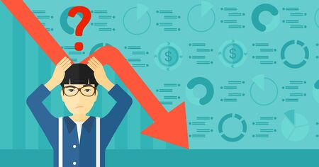 going down: An asian man clutching his head and a big question mark above on the background of business graph going down vector flat design illustration. Horizontal layout. Illustration