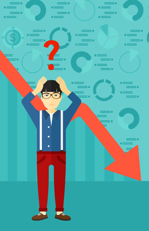 going down: An asian man clutching his head and a big question mark above on the background of business graph going down vector flat design illustration. Vertical layout.