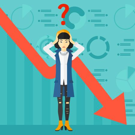 going down: An asian woman clutching her head and a big question mark above on the background of business graph going down vector flat design illustration. Square layout. Illustration