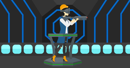 An asian woman wearing virtual reality headset and standing on a treadmill with a gun in hands vector flat design illustration. Horizontal layout.