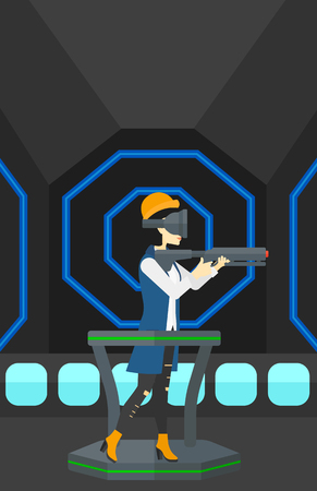 An asian woman wearing virtual reality headset and standing on a treadmill with a gun in hands vector flat design illustration. Vertical layout.