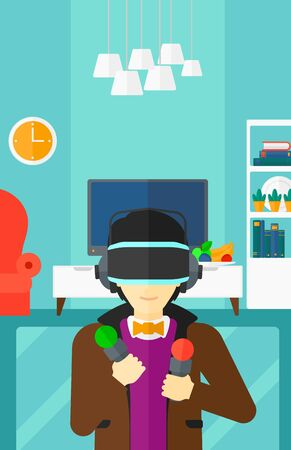 pickups: An asian man wearing a virtual relaity headset on the background of modern  living room vector flat design illustration. Vertical layout.