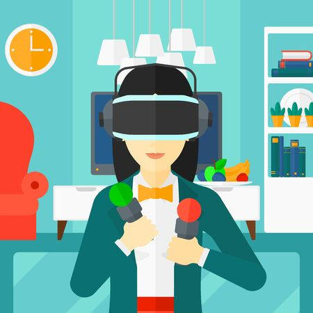 indoor background: An asian woman wearing a virtual relaity headset on the background of modern  living room vector flat design illustration. Square layout.