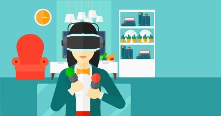 pickups: An asian woman wearing a virtual relaity headset on the background of modern  living room vector flat design illustration. Horizontal layout.