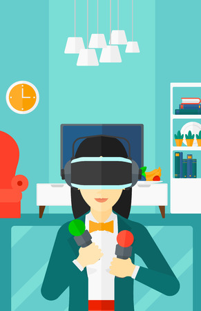 recreation rooms: An asian woman wearing a virtual relaity headset on the background of modern  living room vector flat design illustration. Vertical layout.