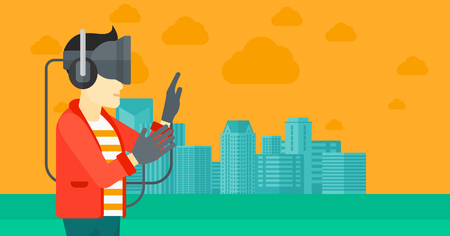 VIRTUAL REALITY: An asian man wearing a virtual relaity headset on a city background vector flat design illustration. Horizontal layout.