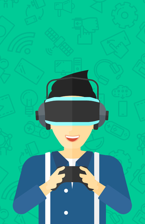 An asian man wearing a virtual relaity headset and holding remote control in hands on a green background with technology icons vector flat design illustration. Vertical layout.