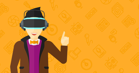 man pointing up: An asian man wearing a virtual relaity headset and pointing a forefinger up on a yellow background with media icons vector flat design illustration. Horizontal layout. Illustration