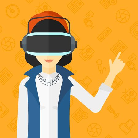 An asian woman wearing a virtual relaity headset and pointing a forefinger up on a yellow background with media icons vector flat design illustration. Square layout. Illustration