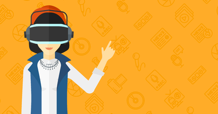 woman pointing up: An asian woman wearing a virtual relaity headset and pointing a forefinger up on a yellow background with media icons vector flat design illustration. Horizontal layout.