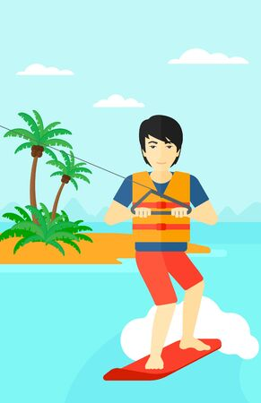 An asian man wakeboarding on the sea with a small island on a background vector flat design illustration. Vertical layout. Vettoriali