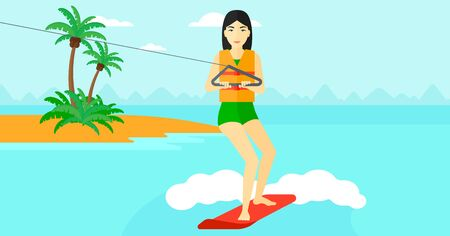 An asian woman wakeboarding on the sea with a small island on a background vector flat design illustration. Horizontal layout.