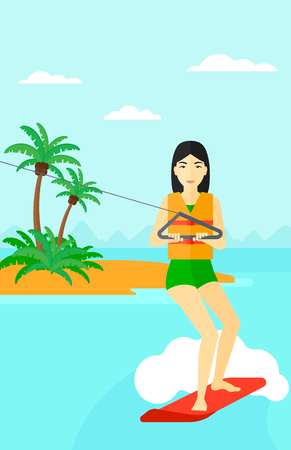 An asian woman wakeboarding on the sea with a small island on a background vector flat design illustration. Vertical layout. Vectores