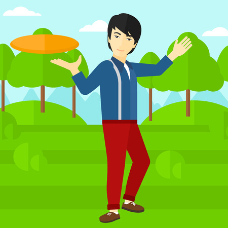 flying disc: An asian man playing flying disc on the background of green lawn with trees vector flat design illustration. Square layout.