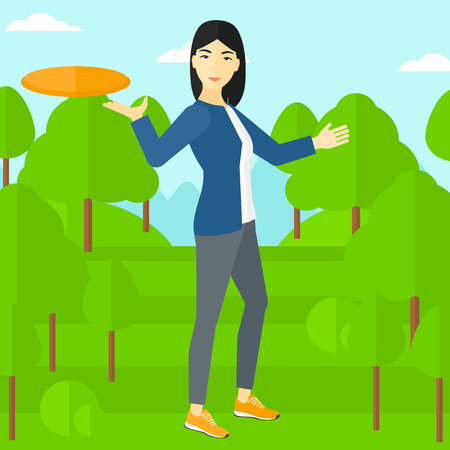 tree disc: An asian woman playing flying disc on the background of green lawn with trees vector flat design illustration. Square layout.