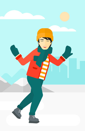 An asian man ice skating on frozen lake on a city background vector flat design illustration. Vertical layout. Stok Fotoğraf - 54862305