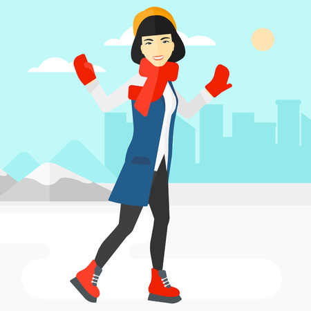 An asian woman ice skating on frozen lake on a city background vector flat design illustration. Square layout.