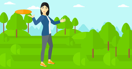 An asian woman playing flying disc on the background of green lawn with trees vector flat design illustration. Horizontal layout.