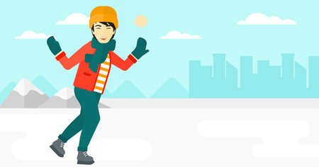 An asian man ice skating on frozen lake on a city background vector flat design illustration. Horizontal layout.