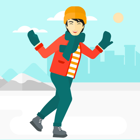 An asian man ice skating on frozen lake on a city background vector flat design illustration. Square layout. Stok Fotoğraf - 54899310