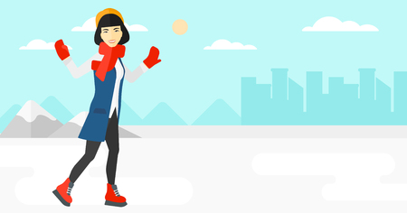 An asian woman ice skating on frozen lake on a city background vector flat design illustration. Horizontal layout.