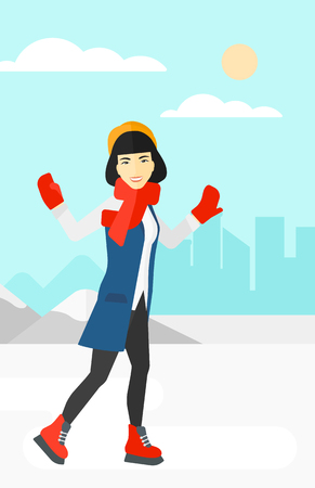 An asian woman ice skating on frozen lake on a city background vector flat design illustration. Vertical layout.