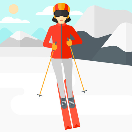 snow capped: An asian woman skiing on the background of snow capped mountain vector flat design illustration. Square layout.