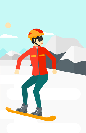 snow capped mountain: An asian woman snowboarding on the background of snow capped mountain vector flat design illustration. Vertical layout.