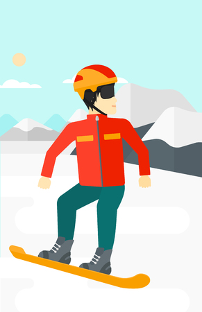 snow capped: An asian man snowboarding on the background of snow capped mountain vector flat design illustration. Vertical layout. Illustration