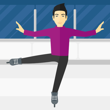skating rink: An asian figure skater performing on ice skating rink vector flat design illustration. Square layout.