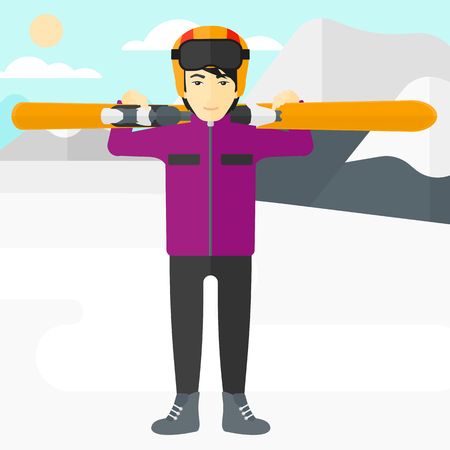 snow capped: An asian man carrying skis on his shoulders on the background of snow capped mountain vector flat design illustration. Square layout.